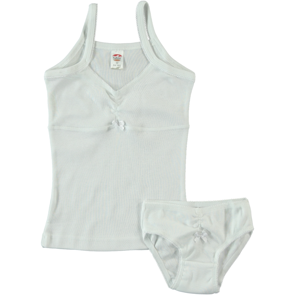 Şahin Combed Cotton Tank Top White Panty The Ages Of 2-12 Team