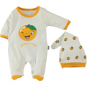 Minidamla Orange-Scented Combed Cotton Overalls Hat Booty Oh Baby 1-6 Months