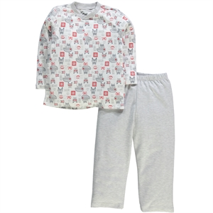 Cvl Combed Cotton Gray Pajama Outfit 2-5 Years