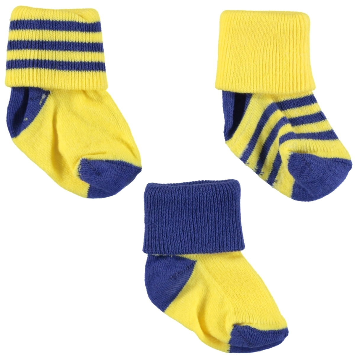 Misket The fans are 3-way Socket Sock Set-0-3 months-yellow-navy blue