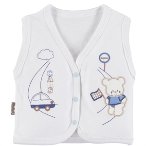 Minikel Combed Cotton Vest White, 12-24 Months
