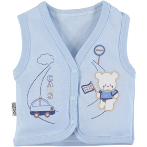 Minikel Combed Cotton Vest Blue, 12-24 Months