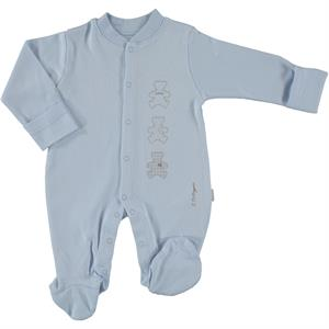 Baby Center Oh Baby Booty Blue Organic Combed Cotton Overalls 0-3 Months