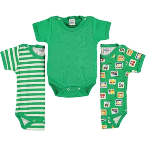 Misket Combed cotton 3-0-12 months Bodysuit with snaps Yesil