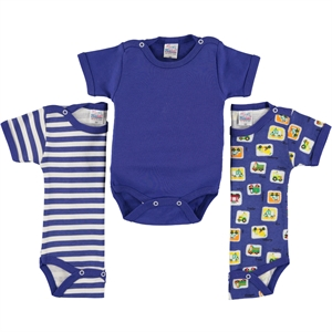 Misket Combed cotton 3-0-12 months Blue Bodysuit with snaps Saks