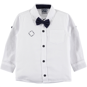 Civil Boys The Ages Of 6-10 With A Bow Tie Boy Shirt - White-Navy Blue