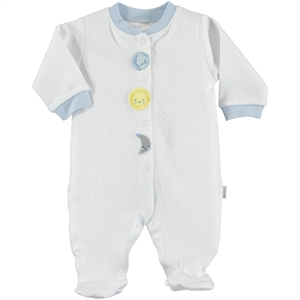 Kiti Kate Organic Combed Cotton Overalls 0-3 Months White Baby Booty Oh