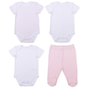 Baby Center Organic Combed Cotton 0-3 Months Baby Girl Set Pink