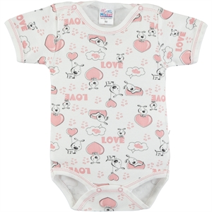 Misket Combing Powder 0-12 Months Baby Girl Bodysuit With Snaps
