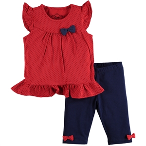 Cvl Combed Cotton Red Polka Dot Team 2-5 Years