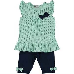 Cvl Polka Dot Combed Cotton Team Yesil 2-5 Years