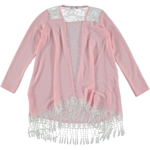 Civil Girls Girl Child 8-12 Years Pink Fringed Cardigan