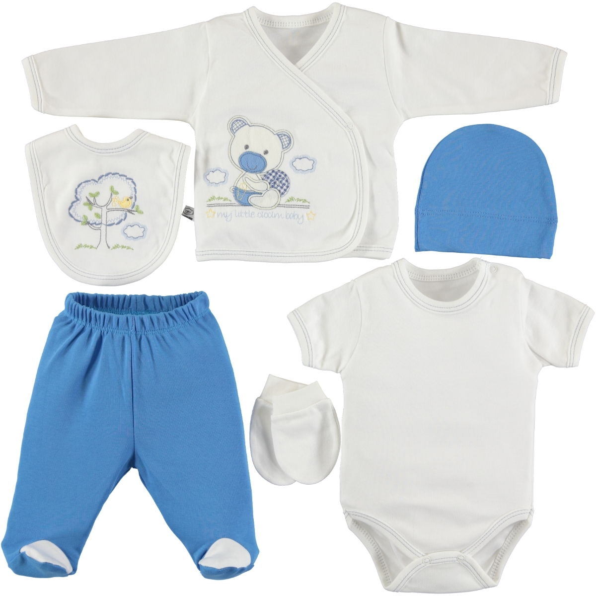 Ciccim Zibin Team Blue 6 PCs combed cotton 0-3 months