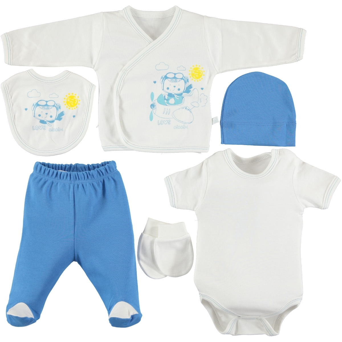 Ciccim 6 PCs combed cotton 0-3 months blue Saks Zibin Team