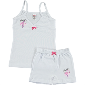 Şahin The Girl Child-Printed Underwear Age Team 1-10 White-Fuchsia