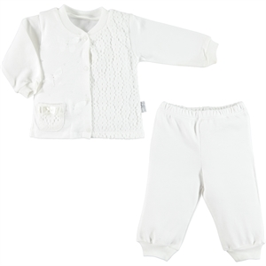 T.F.Taffy The Team Tafyy Pajamas Ecru Combed Cotton 0-12 Months