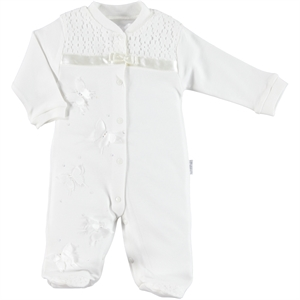 T.F.Taffy Oh Tafyy Combed Cotton Ecru 0-9 Months Baby Overalls Booty