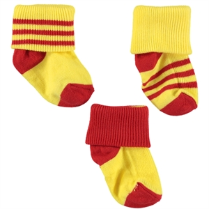Misket The fans are 3-way Socket Sock Set-0-3 months-yellow-red