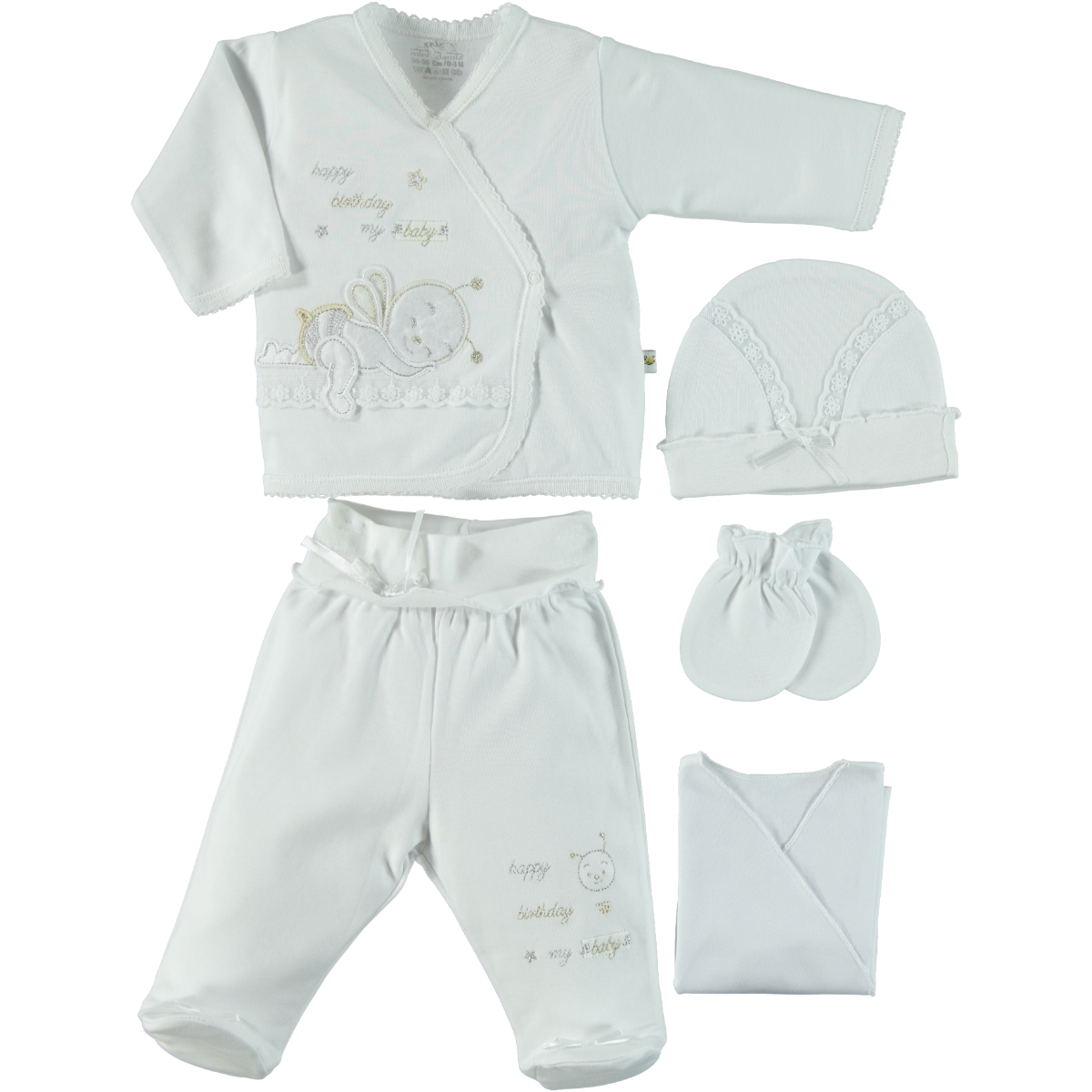 Minidamla Combed cotton 0-3 months White 5 Zibin Team