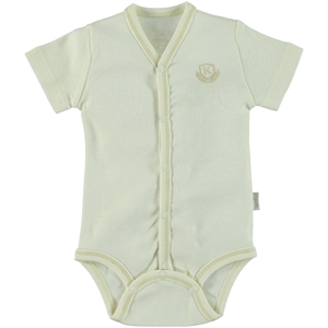 Kiti Kate Organic Combed Cotton Ecru 0-3 Months Bodysuit With Snaps