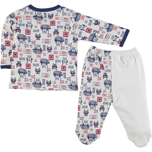 Kujju Indigo Combed Cotton Pajama Outfit 0-6 Months (2)