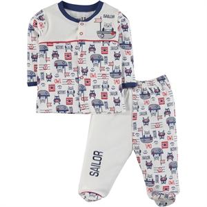 Kujju Indigo Combed Cotton Pajama Outfit 0-6 Months (1)