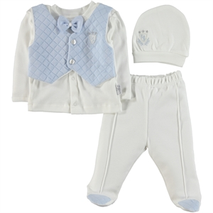 T.F.Taffy Men's Combed Cotton Baby Suit 0-3 Months Blue Tafyy (1)