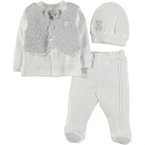 T.F.Taffy Men's Combed Cotton Baby Suit 0-3 Months Gray Tafyy (1)