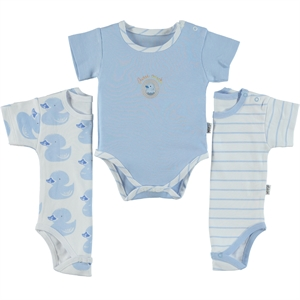 Albimini Combed cotton 3-1-12 months-blue Bodysuit with snaps