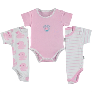 Albimini Combed cotton 3-1-12 months Pink Bodysuit with snaps