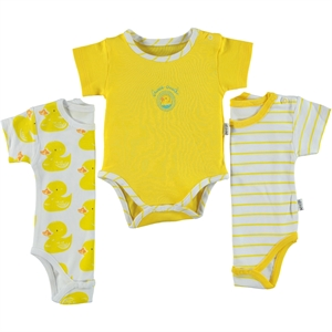 Albimini Combed cotton 3-1-12 months bodysuit snaps yellow