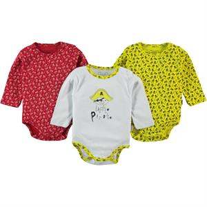 Albimini Combed cotton 3-0-12 months Yellow Bodysuit with snaps