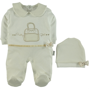 Nenny Baby Oh Baby, Booty Ecru Combed Cotton Overalls 3-12 Months
