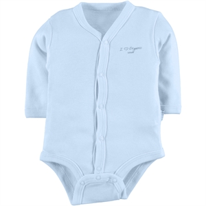 Kiti Kate Organic Combed Cotton 0-3 Months Blue Bodysuit With Snaps