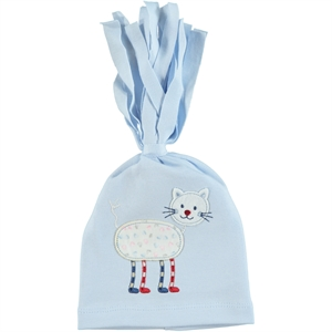 Leoncino Blue Combed Cotton Hat 0-6 Months