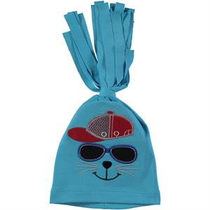 Leoncino Combed Cotton Hat, Turquoise, 0-6 Months