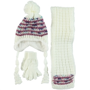 Civil Ecru Knitwear Hat Scarf Gloves Set, 5-8 Years