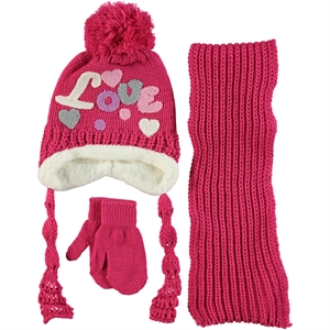 Civil Fuchsia Knitwear Hat Scarf Gloves Set Age 1-4