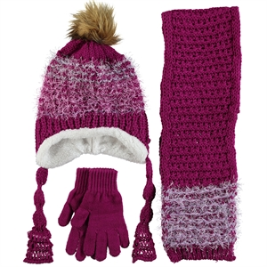 Civil Knitwear Hat Scarf Gloves Set Purple 5-8 Years