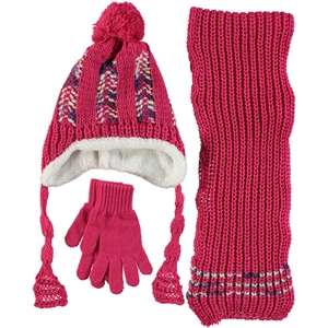 Civil Fuchsia Knitwear Hat Scarf Gloves Set, 5-8 Years