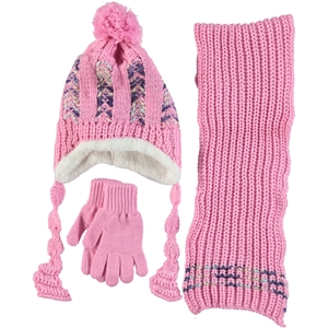 Civil Knitwear Hat Scarf Gloves Set Pink 5-8 Years
