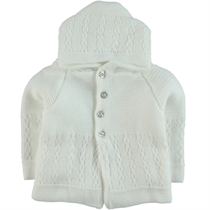 Kaşif Hooded Cardigan Hooded Sweater White 0-1 Years