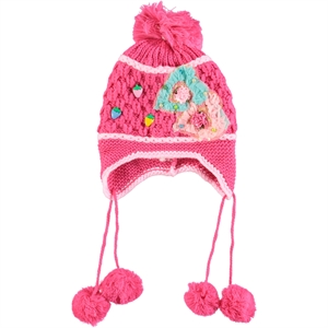 Prahar 8-12 Years Girl Fuchsia Beanie Sweater