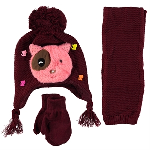 Civil Set Hat Gloves Scarf Burgundy Knitwear The Ages Of 1-4
