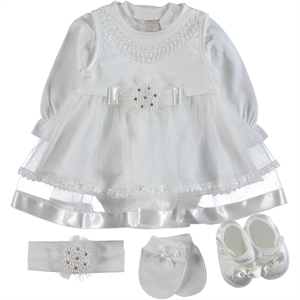 Bebetomy 0-3 Months Baby Girl Ecru Satin Mevlut Team (1)