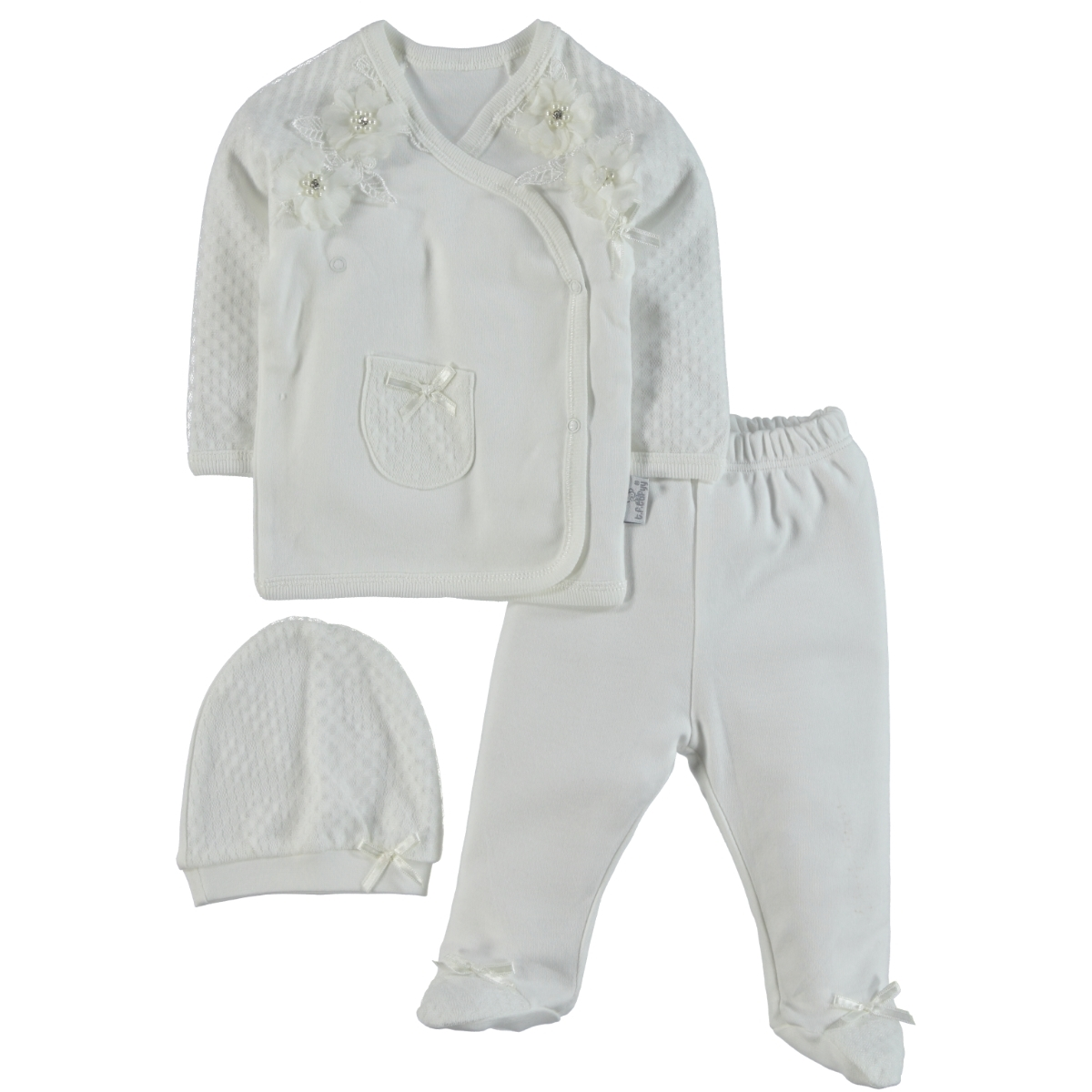 T.F.Taffy Taffy Baby Girl Suit Combed Cotton Ecru 0-3 Months