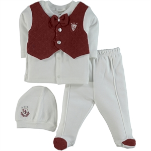 T.F.Taffy Men's Combed Cotton Baby 0-3 Months Burgundy Suit Tafyy