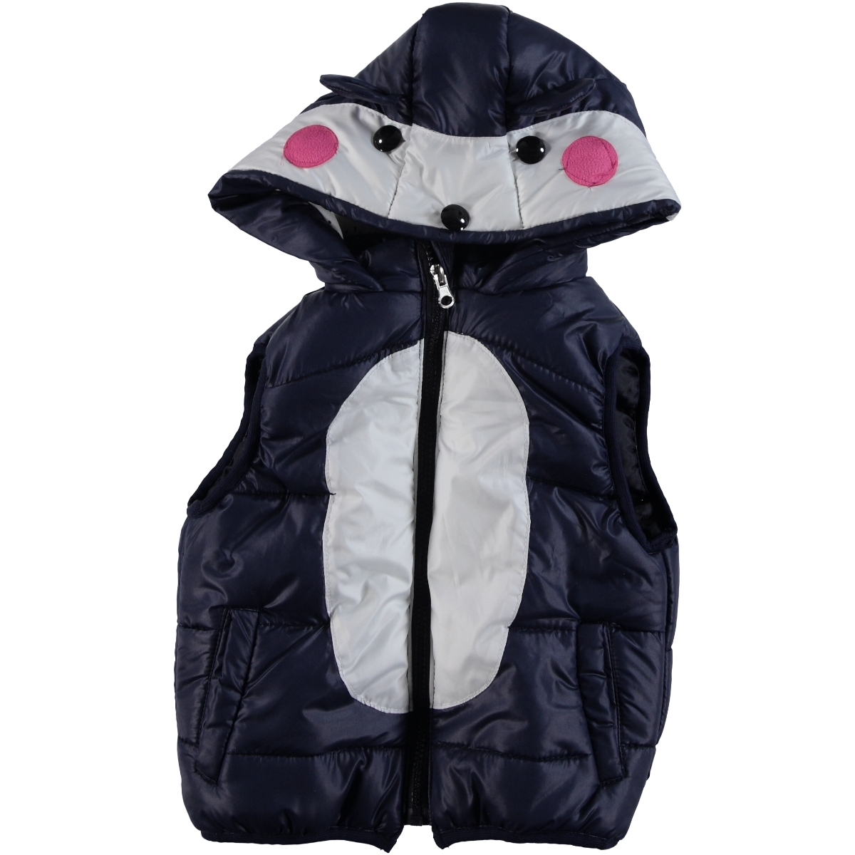 Civil Girls Age 2-6 Navy Blue Hooded Girl Vest