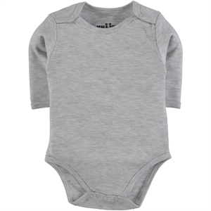 Kujju 3-9 Months Gray Bodysuit With Snaps Combing