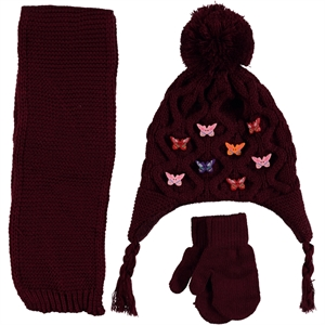 Civil Children's Knitwear Burgundy Hat Scarf Set Girl Ages 1-4